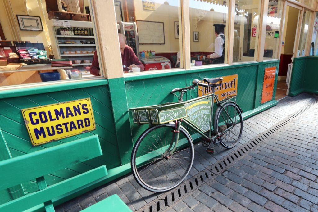 North Norfolk Railway refreshment room and vintage bike.