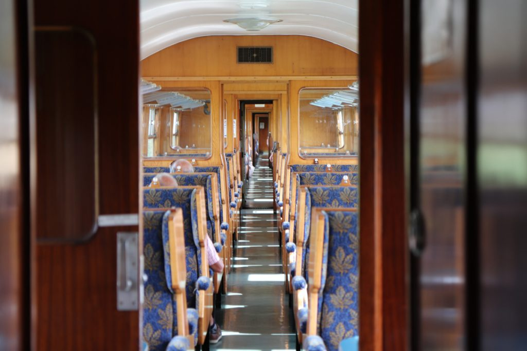 Inside a carriage on the North Norfolk Railway.