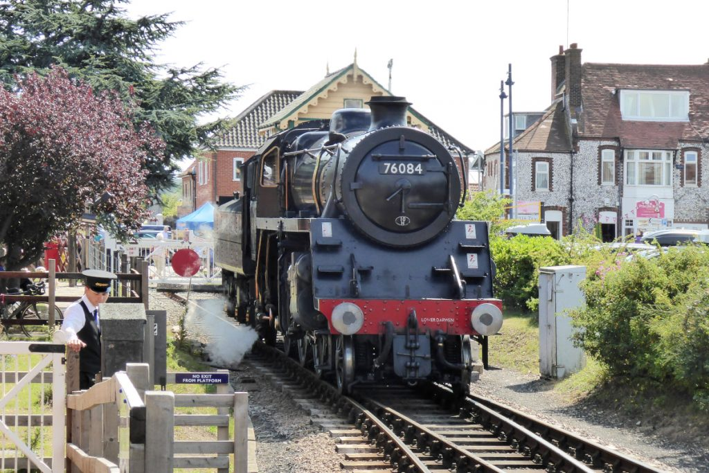 The North Norfolk Railway steam engine at Sheringham Station.