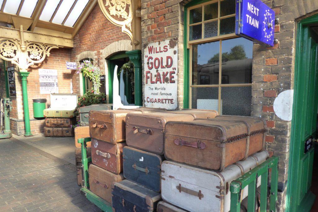 Old suitcase on the platform at Sheringham Station.