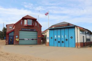 Hunstanton lifeboat station and the RNLI building at Old Hunstanton.