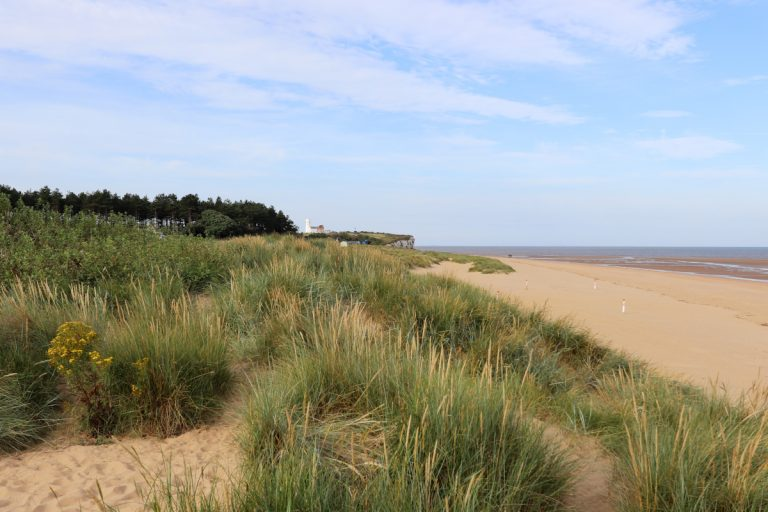 Old Hunstanton beach with grassy dunes in the foreground and the lighthouse in the distance.