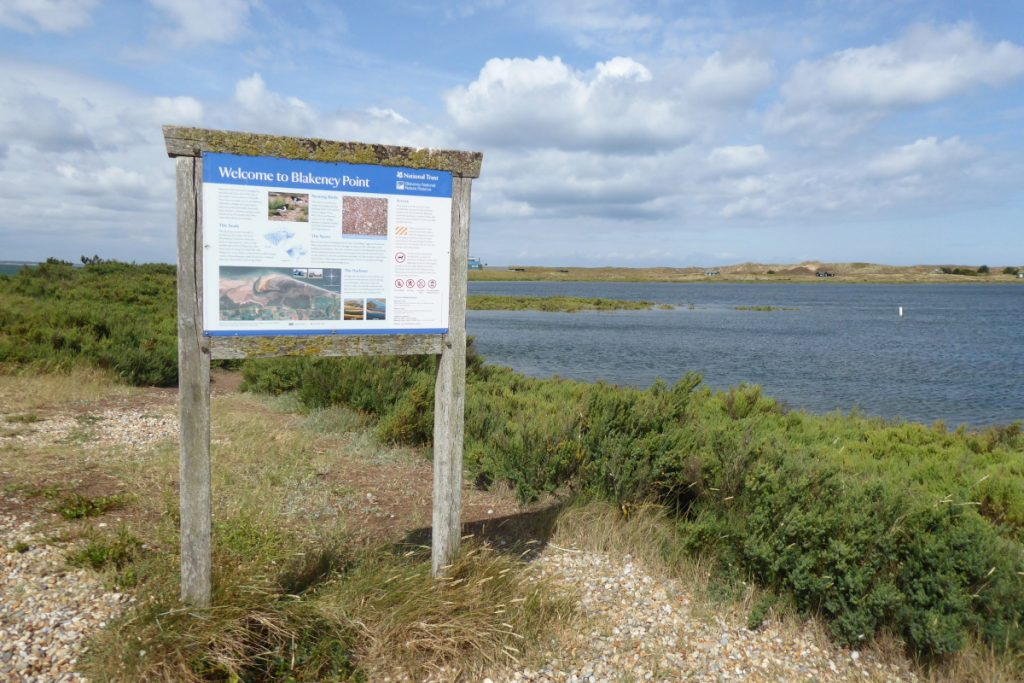 An information board at Blakeney Point with wetlands and greenery behind.