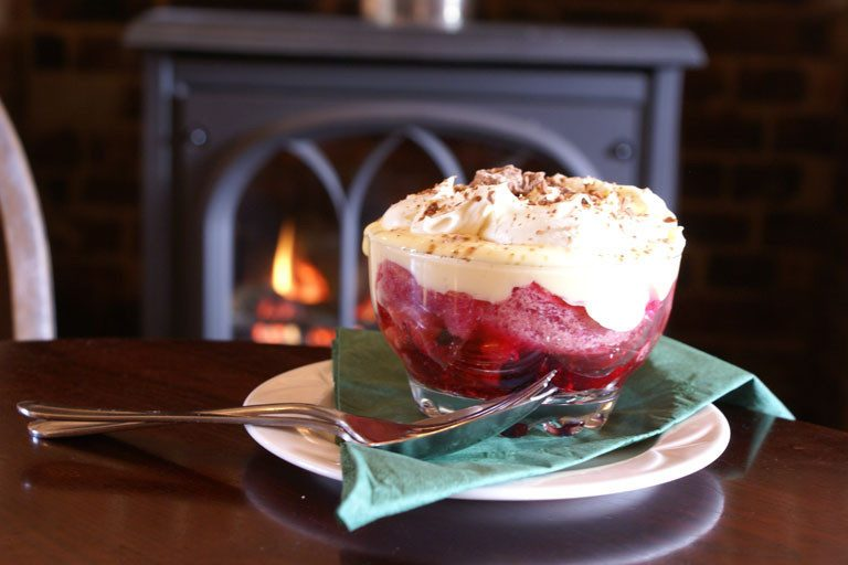 A generous bowl of trifle at The Bowling Green pub in Wells-next-the-Sea.