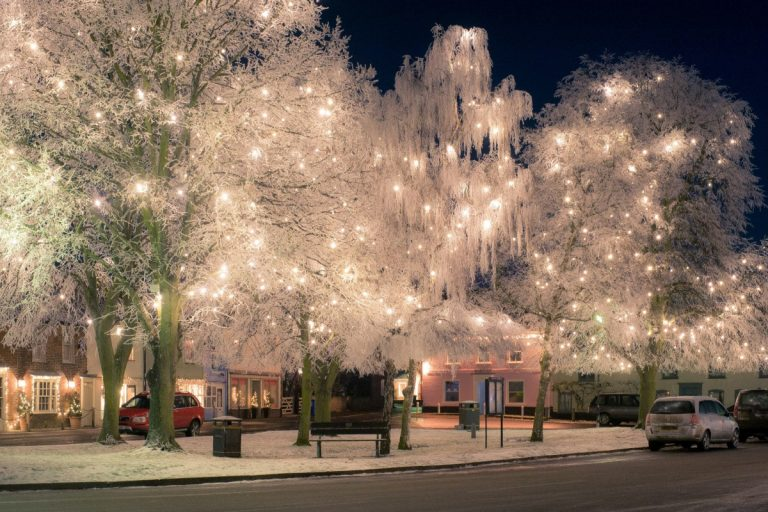 Burnham Market village trees lit up with Christmas lights.