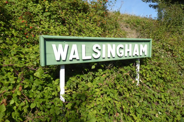 The light railway Walsingham station sign in Norfolk.