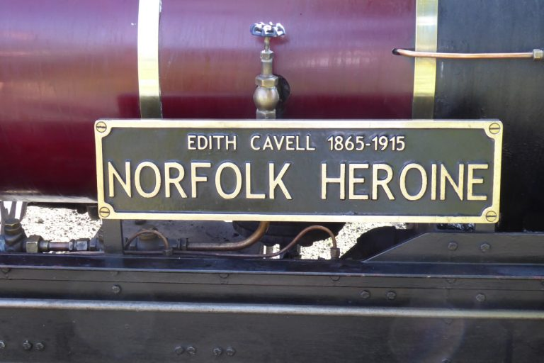 The Norfolk Heroine steam engine name plaque.