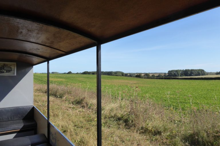 View from carriage on the Wells and Walsingham Light Railway.