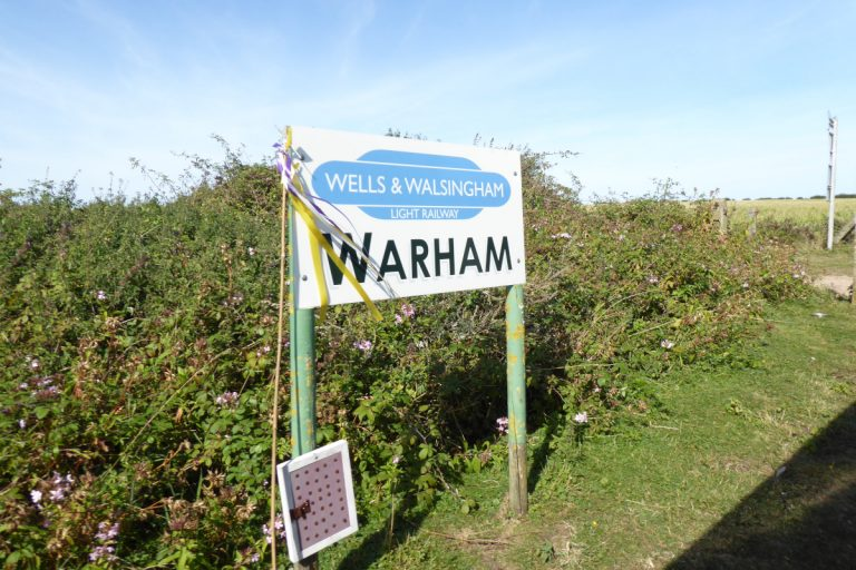 Warham Station sign on the Wells and Walsingham Light Railway.