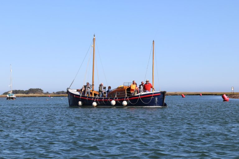 Former lifeboat Lucy Lavers carrying passengers in Wells.