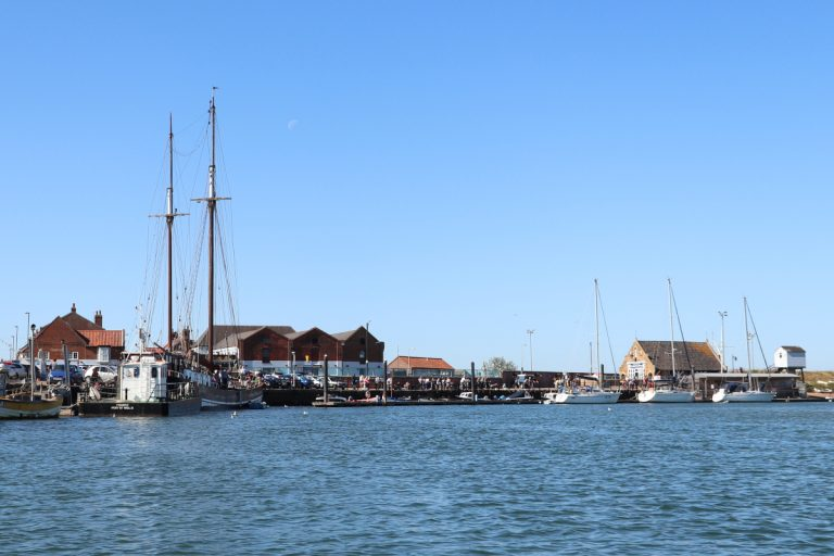 The harbour at Wells including The Albatros sailing ship.