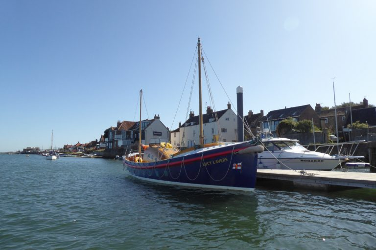 Former lifeboat Lucy Lavers moored at Wells-next-the-Sea.